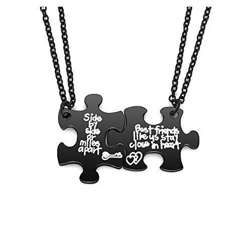 jovivi friends necklace for 2 silvers Jovivi 2pcs Best Friend Friendship Necklace Best friends like us stay close in heart Matching Puzzle BFF Necklace Set for Best Friends Sisters Gifts