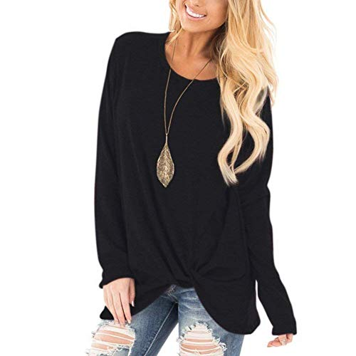 Xpenyo Women's Long Sleeve Tops Round Neck Blouse with Twisted Side Knot Loose Fit T Shirts Black UK 10-12