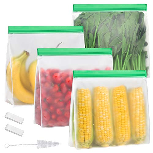 Reusable Gallon Storage Bags - Stand up Gallon Freezer Bags - 4 Pack LEAKPROOF 1 Gallon Size Bags - for Marinate Meats, Snack, Sandwich, Fruit, Travel Items, Cereal, Veggies, Home Organization