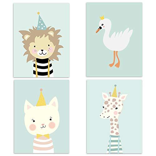 Juego de 4 pósteres para habitación de niños y bebés, tamaño DIN A4, decoración para niños y niñas, diseño de animales del bosque, escandinavos, 4-2
