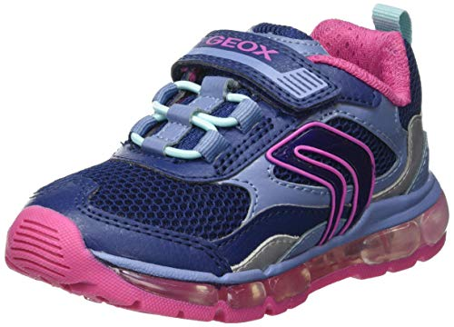 Geox J Android Girl D Sneaker, Navy/Fuchsia, 31 EU