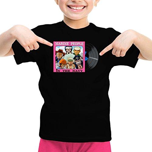 T-Shirt Enfant Fille Noir One Piece parodique Kizaru, Aokiji, Akainu, GARP, Sengoku et Smoker : La Marine recrute ! (Parodie One Piece)