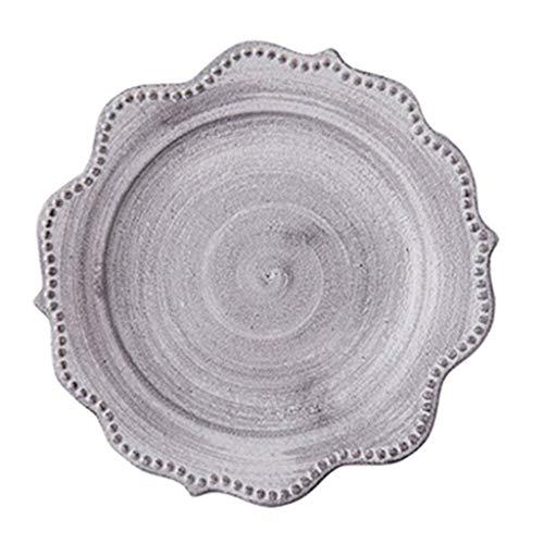 Platos Vajilla De Estilo Japonés Carne Retro para El Hogar Desayuno Occidental Creativo (Color : Blanco, Size : 19×19cm)