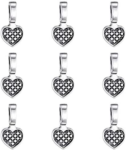 140pcs Antique Silver Spoon DIY Heart Glue on Bails Small Pendant Bails Jewelry Bails for Pendant product image