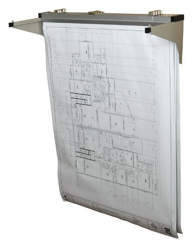 """Adir Corp. Drop - Lift Wall Rack for Blueprints - Plans, Sand Beige with 12 18"""" File Hanging Clamps"""