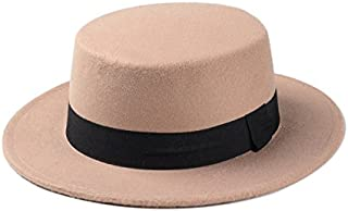 Wool Pork Pie Boater Flat Top Hat for Women's Men's Felt Wide Brim Fedora Gambler Hat (Color : Tan, Size : 57-58cm)