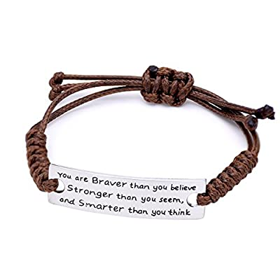 O.RIYA You are Braver than you believe Charming Little Inspirational Bracelet