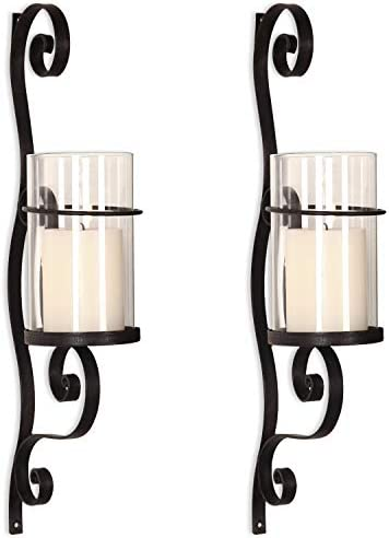 Asense Iron and Glass Vertical Wall Hanging Candle Holder Sconce Wall D cor Graceful Twirl 2pcs product image
