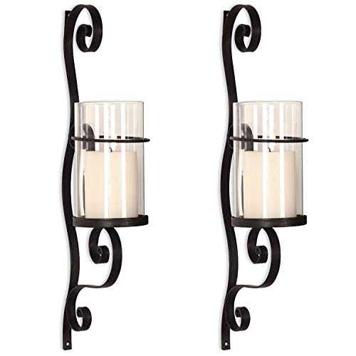 Asense Iron and Glass Vertical Wall Hanging Candle Holder Sconce Wall Decor for Living Room, Bedroom (Set of 2) (Graceful Twirl(2pcs))