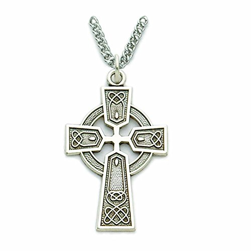 Sterling Silver Engraved Trinity Style Celtic Cross Pendant, 1 1/8 Inch
