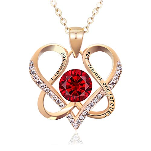 DYD Love Heart Necklaces for Women, Forever Love Heart Necklace, Gold Plated January Birthstone Pendant Necklaces for Women with 5A Cubic Zirconia, Birthday Jewelry Gifts for Mom Women Wife Girls