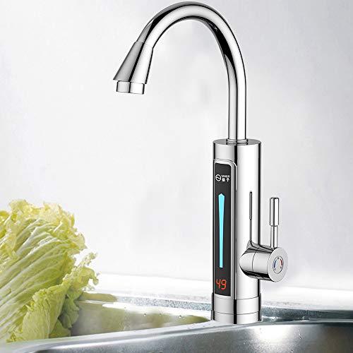 3300W LED Elektrisch Durchlauferhitzer Wasserhahn Sofort Warm Küchearmatur Schnellheizungshahn mit digitale Wassertemperaturanzeige 360 ° drehbar