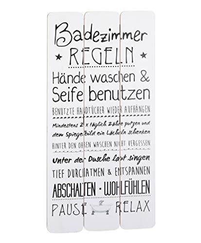 """Wandschild Plankenschild """"Badezimmerregeln"""" ca. 60 x 30 cm - Vintage Motiv-Schild - Ideal für Badezimmer oder Flur - Super Geschenkidee für Ihre Liebsten"""