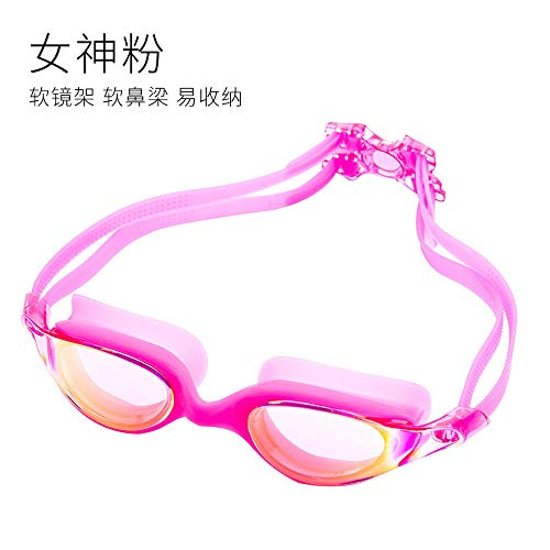 MHP Zwembril, volwassen, zwembril, waterdicht, duikbril, gegalvaniseerd siliconenriem, oorsteker, verbindingsset roze