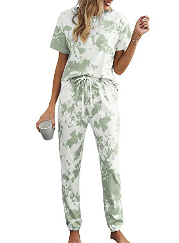 Asvivid Womens Summer Tie Dye Printed Lounge Pajamas Set Ladies Long PJS Two Piece Sleepwear Loungewear S Green