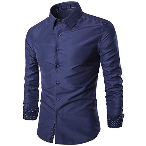 Men Shirt Men Shirt Comfortable Casual Lapel Boutique Men Shirt Autumn New Long Sleeve Slim Simple Business Casual Men Shirt Soft and Light Men Tops B-Navy. L