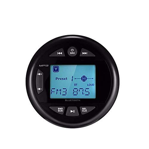 Herdio Receptor de medidor Marino Impermeable, Bluetooth, Reproductor de MP3 Digital, con transmisión de Audio, Pantalla Positiva de 2,4 Pulgadas, Radio FM Am para Barco, ATV, UTV, SPA