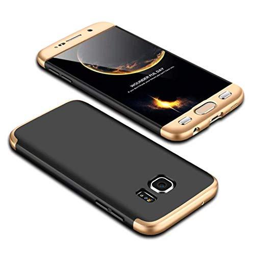 Homikon 360 Grad Hart PC Hülle 3 in 1 Komplettschutz Tasche Plastik Handyhülle mit Tempered Glas Panzerglas Ganzkörper-Koffer Schutzhülle Kompatibel mit Samsung Galaxy S6 Edge - Schwarz Gold