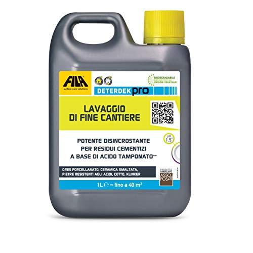 FILA Surface Care Solutions Deterdek PRO Detergente disincrostante Acido, rimuove i residui cementizi del Dopo Posa e Lo Sporco di fine Cantiere, 1L, 1 L