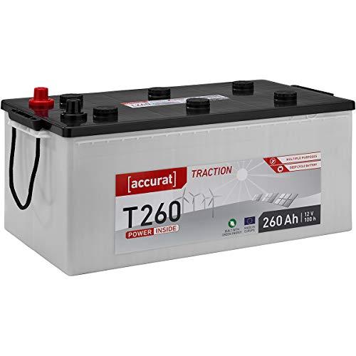 Accurat 12V Solarbatterie 260Ah Nass Batterie in 6 Varianten (wartungsfrei)