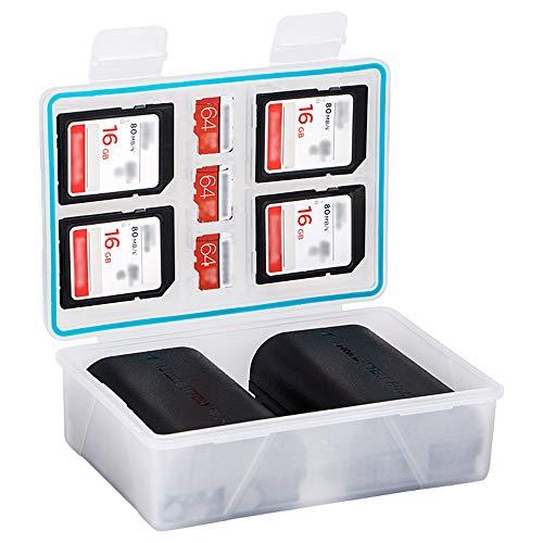 JJC Kamera-Akku und Speicherkartentasche für Canon LP-E12 x4 / Fujifilm NP-W126 x2 / Nikon EN-EL15 x2 / Sony NP-F550 x1 Kamera-Akku und SD- und XQD-Speicherkarten-Tragetasche