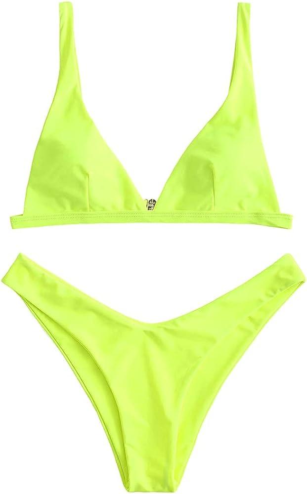 ZAFUL Swimwear Women's Ribbed Front Closure Bikini Set Textured Triangle Adjustable Straps Bathing Suits