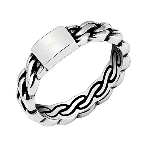 Jovivi Custom Band Rings - Personalized Engraved Name Initial Stainless Steel 5mm Wide Braided Woven Norse Celtic Knot Wedding Band Ring Size 10