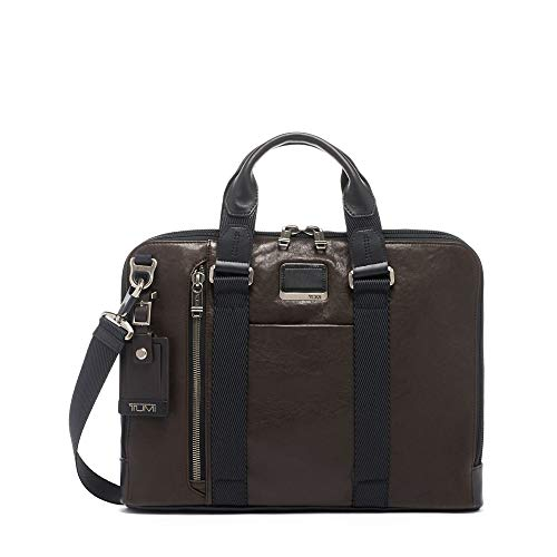 TUMI - Alpha Bravo Aviano Leather Laptop Slim Brief Briefcase - 15 Inch Computer Bag for Men and Women - Dark Brown