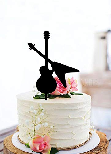KISKISTONITE Two Guitar Happy Birthday Cake Topper - Unique Black Acrylic Cake Topper For Birthday Special Events Party Supplies Decoration