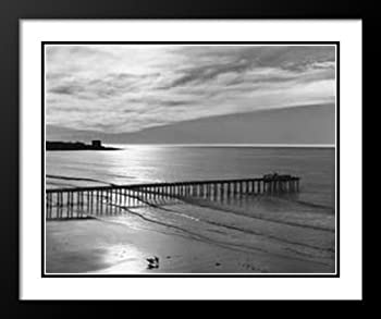 Ansel Adams Framed and Double Matted Art Print 20x23  Scripps Pier