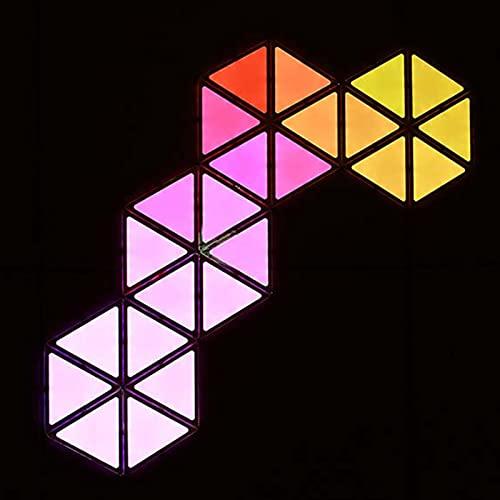 JAKROO Paneles Luz Modulares LED Inteligentes Toque Multicolor RGBW, Luz Pared Triángulo con Control Remoto, Luz Nocturna Geometría Bricolaje Luz Cuántica para Dormitorio Living 9 Pack