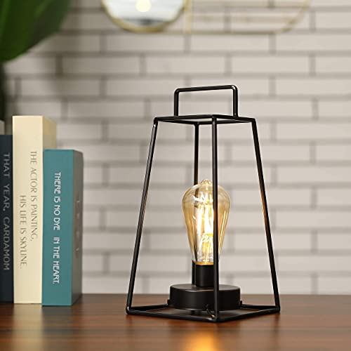 JHY DESIGN Retro Style Geometric Table Lamp 30cm High Simple Iron Art Cordless Lamp Battery Operated Lamp Cage Wireless Lamp with 6-Hours Timer for Balcony Wedding Parties Indoor Outdoor(Tall, Black)