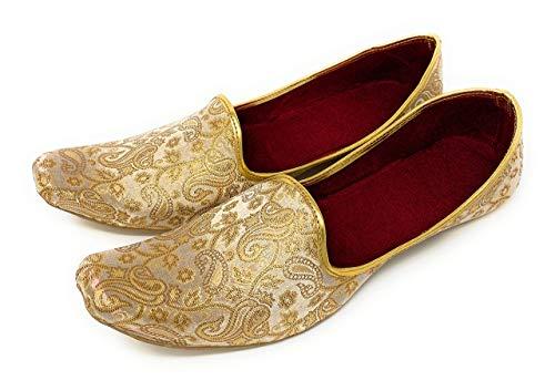BombayFlow SRK Punjabi Jutti Indian Handmade Gold Shoes, Khussa Shoes Jutti, Traditional India Wedding Kurta Mojari Size 9.5