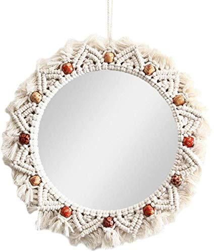 HFFFHA Marco de Espejos Grandes para Sala de Estar con cordón Marco de Espejos de Encaje Redondo Marco de Espejo de Pared Colgante Decoración Marco de Espejo de Vidrio Tejido sin Espejo