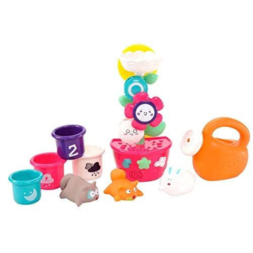 Cuitan Baby Bathing Toy Set Station d'eau Tasses Empilables Arrosoir Bathtime Toys 9 Pcs pour Enfants Filles Garcons