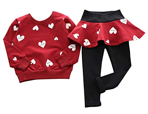 Adorable Toddler Baby Girls Clothes Set Long Sleeve T-Shirt and Pants Outfit Fall Clothes (Red,Age...