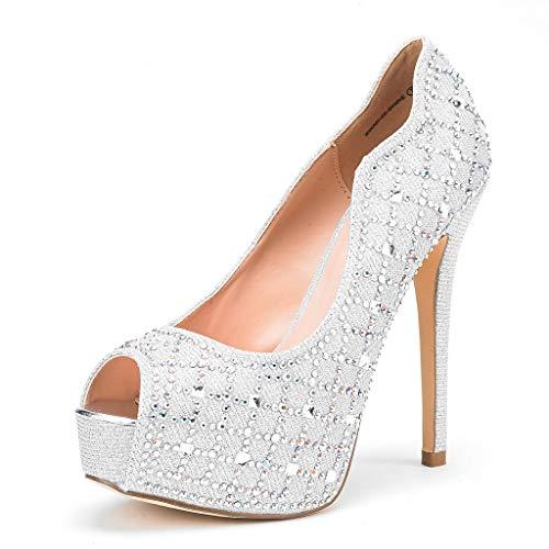 Dream Pairs Women's Swan-25 Shine Silver High Heel Plaform Dress Pump Shoes – 7 M US