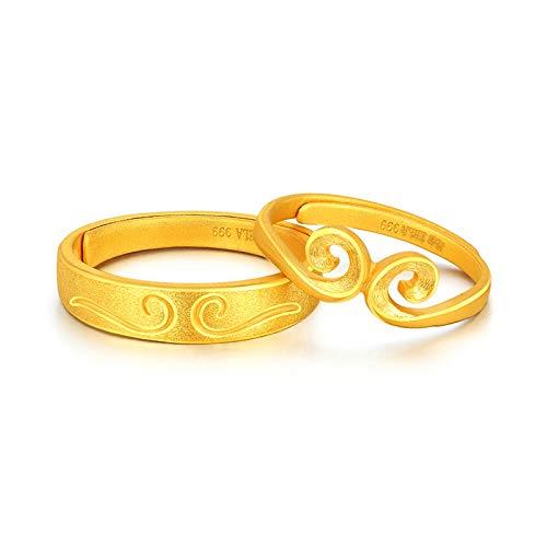 KnSam Ring Gold 999 Damen Ringe Echtgold 999 Gelb Gold 5.1 Gramm Verlobung Ehe Gold Ring Geeignet Für Jede Größe [Seltenes Edelmetall]