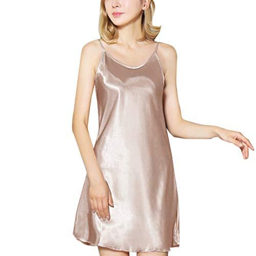 Reooly Ropa Interior para Mujer, Pijama, Ropa Interior, Vestido de Fondo XL, satén Sexy, Loto, Dobladillo, Honda