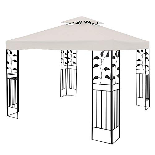 Wghz 3x3m Gazebo Top Cover Roof Replacement, Outdoor Waterproof Canopy Tent Top Roof Spare Part for Garden Patio (2-Tier, Beige)