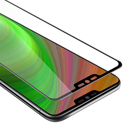 Cadorabo Pellicola Protettiva per LG G7 ThinQ in Trasparente con Nero - Vetro di Protezione Temprato Blindato (Tempered) Schermo Intero per Display con 3D Touch e 9H
