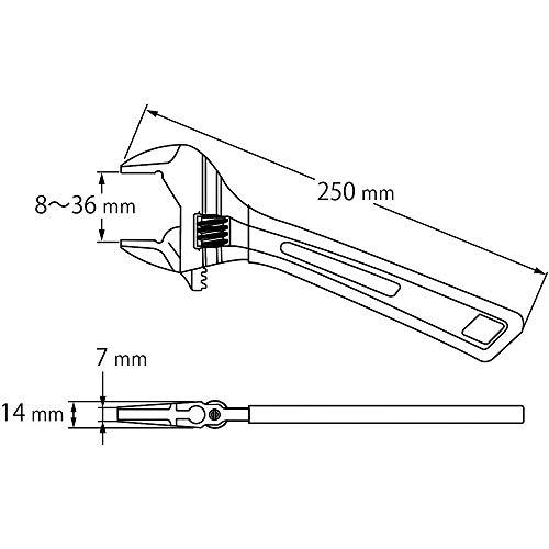 ロブテックス(エビ)「プロ仕様モンキーレンチ」ハイブリッドモンキX250mmグリップ付UM36XD