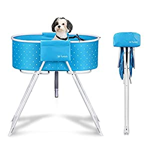 Furesh Elevated Folding Dog Bath Tub and Wash Station for Bathing, Shower, and Grooming, Foldable and Portable, Indoor and Outdoor, Perfect for Small and Medium Size Dogs, Cats and Other Pet (Blue)