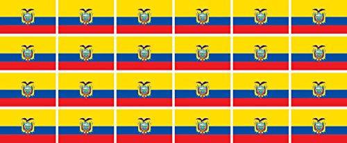 Mini Aufkleber Set - Pack glatt - 33x20mm - Sticker - Fahne - Ecuador - Flagge - Banner - Standarte fürs Auto, Büro, zu Hause & die Schule - 24 Stück