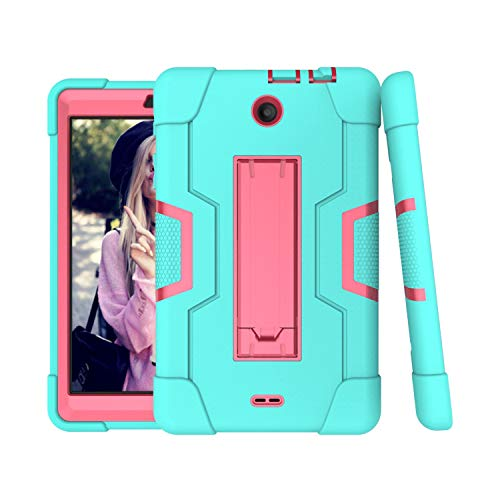 For Alcatel 3T 8.0 Case,Alcatel Joy Tab 8.0 Case,Cherrry Heavy Duty Rugged Hybrid Shockproof Full-Body Protective Case Build in Kickstand (Green Pink)