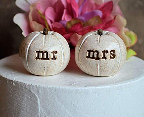 "Pumpkin wedding cake topper.2 rustic white""mr mrs"" clay pumpkins"