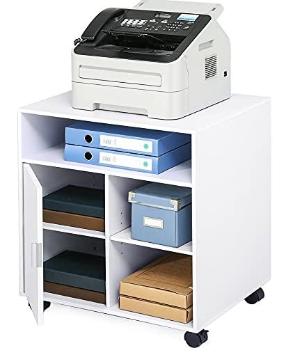 FITUEYES Supporto per Stampante Legno Bianco con Ruote Scrivania Lato Mobile 3 Aperto 2 Chiuso di Stoccaggio Armadio per Ufficio 60x50x66,4cm