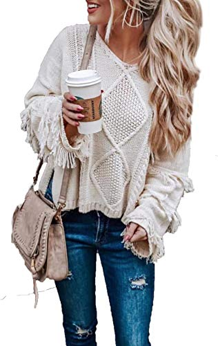 HZSONNE Women's Casual V Neck Tassel Bell Long Sleeve Boho Loose Kimono Cable Knit Pullover Sweater Jumper Tops (White, Small)