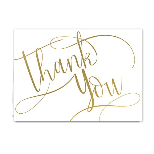 Gold Foil Thank You Note Card Pack - Set of 50 cards, blank inside - with envelopes