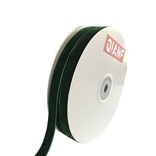 QIANF Vintage Green Velvet Ribbon, 3/8 Inch X 25Yd